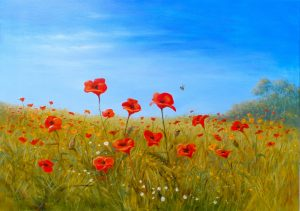 Oil Painting of poppies by Nicholas Lewis Artist